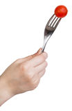 Hand holding fork with one fresh red cherry tomato Stock Images