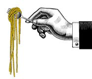 Hand holding a fork with spaghetti. Vintage stylized drawing. There is in addition a vector format EPS 8 stock illustration