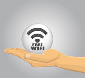 Hand holding a free wifi ball Stock Images