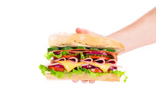 Hand holding fresh sandwich. Royalty Free Stock Photos