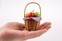 Hand holding a fruit basket Stock Photography