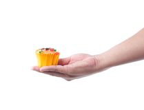 hand holding fruit cupcake Stock Image