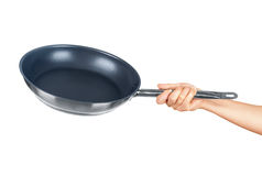 Hand holding a frying pan Stock Image