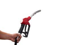 Hand holding fuel nozzle with hose isolated. On white background Stock Image