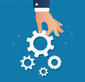 Hand holding gears and background, a business concept vector illustration Royalty Free Stock Images