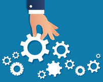 Hand holding gears and background, a business concept vector illustration Royalty Free Stock Photography
