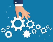 Hand holding gears and background, a business concept vector illustration Royalty Free Stock Photos