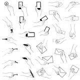 Hand holding gestures collection Royalty Free Stock Photography