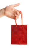 Hand holding gift bag Royalty Free Stock Photos