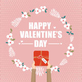 Hand holding gift box for valentine`s day. Hand holding gift box for valentine`s day Royalty Free Stock Photography