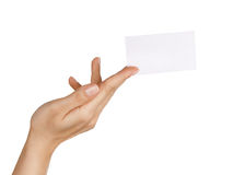 Hand holding/ giving business card Stock Photography