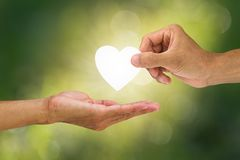Hand holding and giving white heart to receiving hand on blurred green bokeh background. Helping hand concept Stock Image