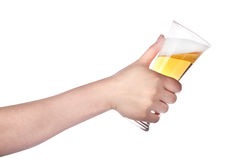 Hand holding glass of beer isolated.making toast Royalty Free Stock Photo