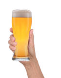 Hand Holding Glass of Foamy Beer Royalty Free Stock Image