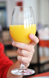 Hand holding a glass of orange juice Royalty Free Stock Photos