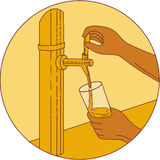 Hand Holding Glass Pouring Beer Tap Circle Drawing Royalty Free Stock Images