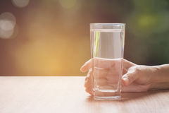 Hand holding a glass of pure water. Hand holding a glass Royalty Free Stock Images