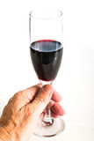 Hand holding a glass of red wine Stock Images