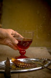 Red wine and octopus, Greece. Royalty Free Stock Photos