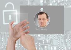 Hand holding glass screen and Identity Verify security App Interface. Digital composite of Hand holding glass screen and Identity Verify security App Interface Royalty Free Stock Image