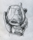 Hand holding glass - sketch Royalty Free Stock Photography