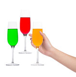 Hand  holding a glass of soft drink Royalty Free Stock Photography