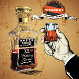 Hand holding a glass of tipple. Bootle stand near the hand.Vector illustration Stock Images
