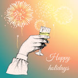 Hand holding a glass of tipple. Fireworks exploding in the background.Vector illustration Royalty Free Stock Photos