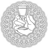 Hand holding glass of vodka encased in circle.. Vector black and white illustration of hand holding glass of vodka encased in circle. Can be used in alcohol Stock Photos