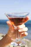 Hand holding glass of wine royalty free stock photography