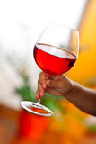 Hand holding glass of wine Royalty Free Stock Image