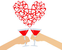 Hand holding a glass of wine. Greeting card for Valentine's day. Hand holding a glass of wine. Vector illustration Stock Photos