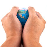 Hand holding the globe Royalty Free Stock Images