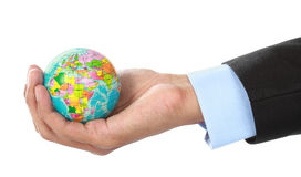 Hand holding a globe Stock Image
