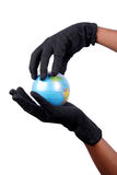 Hand holding globe. On isolated background with clipping path Royalty Free Stock Photo