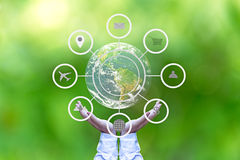 Hand holding globe with abstract global business cycle sketch on green background. stock images
