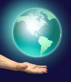 Hand holding a globe. 3D illustration royalty free illustration