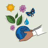 Hand holding globe ecology mother earth concept of ecology beautiful life ecosystem drawing sketch in color Stock Images