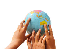 Hand holding the globe. On isolated background Stock Images