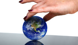 Hand holding globe Stock Photo