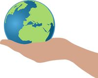 Hand holding a globe. A vector image of a persons hand holding a 3d globe. Globe shows accurate continents of North America, Africa and part of Europe Stock Photography