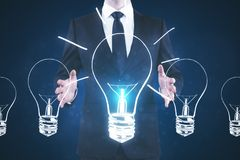 Idea and opportunity concept. Hand holding glowing lamp. Idea and opportunity. 3D Rendering Royalty Free Stock Photography
