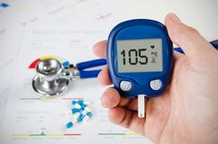 Hand holding glucometer. Royalty Free Stock Images