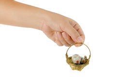 Hand holding gold basket Stock Photography