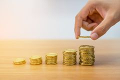 Hand is holding gold coin. With coins stack Royalty Free Stock Images