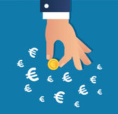 Hand holding gold coin and Euro sign icon vector, business concept. Hand holding gold coin and Euro sign icon vector Stock Images