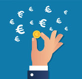 Hand holding gold coin and Euro sign icon vector, business concept. Hand holding gold coin and Euro sign icon vector Stock Image