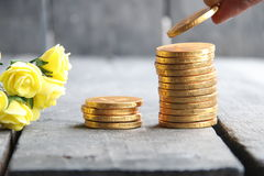 Hand holding gold coins and nice flowers Royalty Free Stock Image