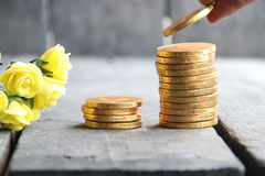 Hand holding gold coins and nice flowers Stock Photography