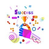 Hand Holding Golden Cup Business Success Concept Banner. Vector Illustration Stock Photography
